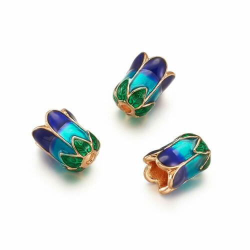 10× Alloy Bead Cap Cone w Enamel 5 Petal Light Gold 11x8mm Jewelry Finding Loose