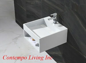 20 Inch Stone Resin Solid Surface Square Shape Bathroom Vanity Vessel Sink Ebay