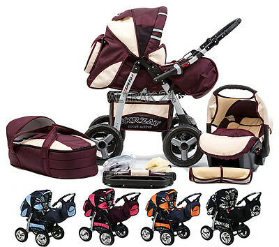 PRAM PUSHCHAIR KINDERWAGEN 3in1  SPEED + CAR SEAT + ACCESSORIES  + CARRY COT