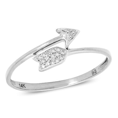 14k White Gold .10CT Diamond Arrow Ring