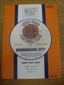 12-10-1974-Luton-Town-v-Birmingham-City-Footy-Progs-Bobfrankandelvis-experie