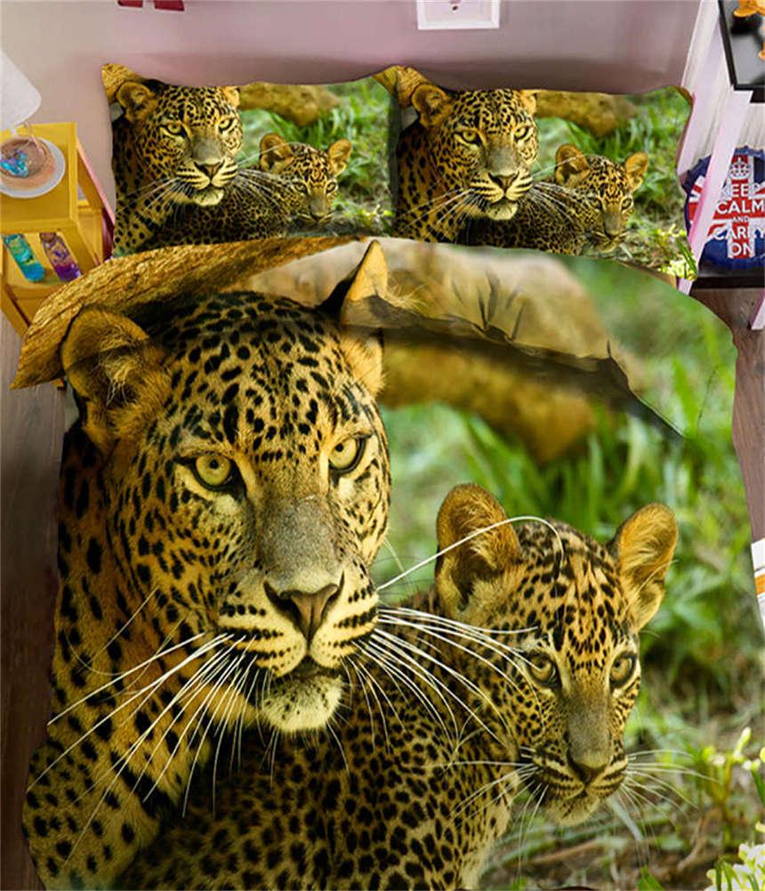 Gental Leopard 3D Printing Duvet Quilt Doona Covers Pillow Case Bedding Sets