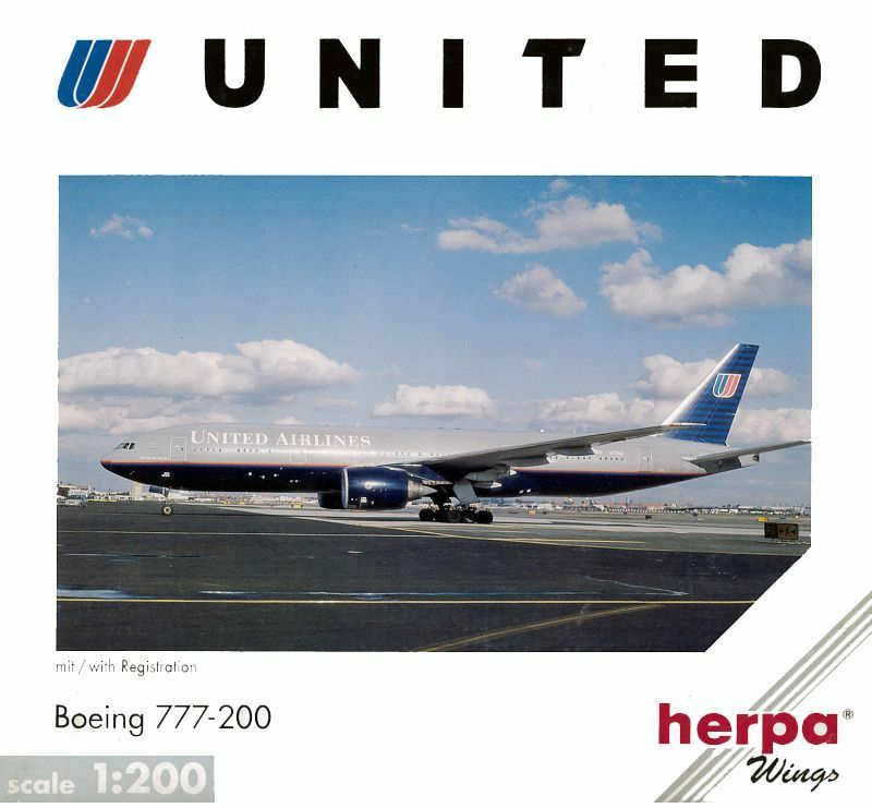 BOEING 777-200 UNITED AIRLINES HERPA 1 200 RARE OLD LIVERY  NIB  vous rendre satisfait