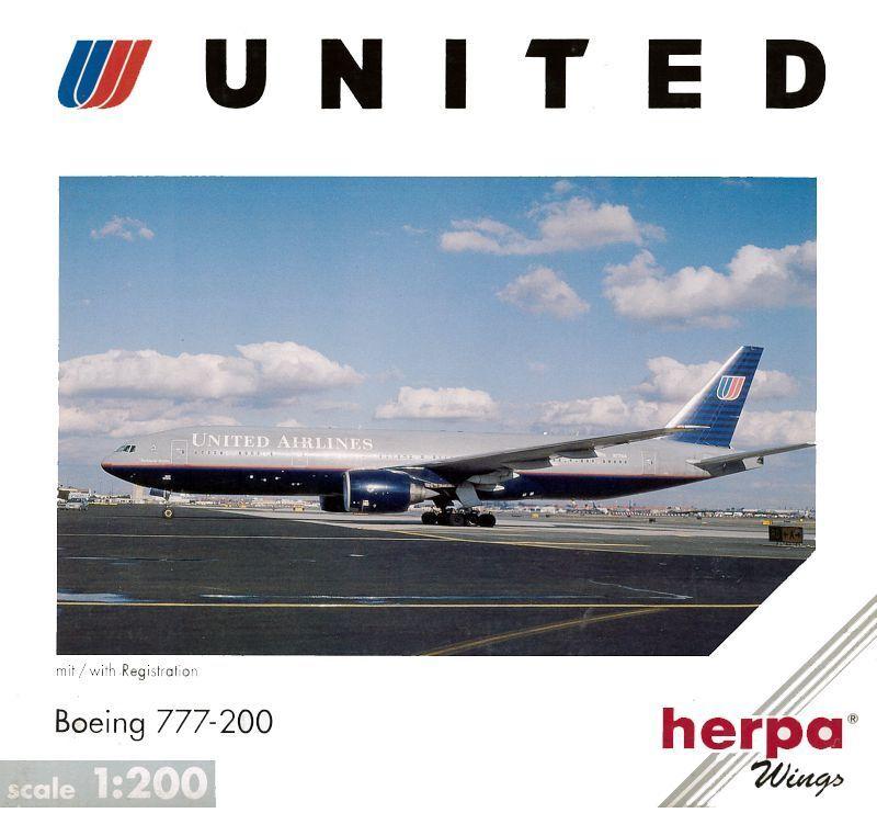 BOEING 777-200 UNITED AIRLINES HERPA 1 200 RARE OLD LIVERY  NIB  service de première classe