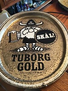 "Vintage Tuborg beer gold metal Tray Skal Viking 15"""