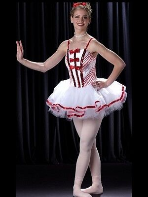 Land Of Sweets Dance Costume Christmas Ballet Tutu Candy Cane Adult Large