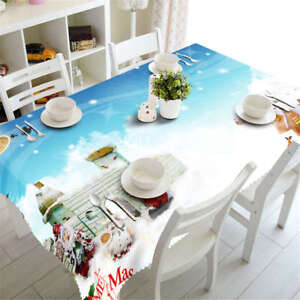 Christmas-Snow-3D-Tablecloth-Table-cover-Cloth-Rectangle-Wedding-Party-Banquet