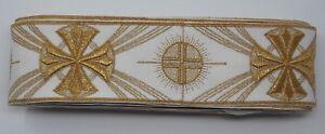 Vintage-Orphreys-Cruz-Diseno-8-9cm-Oro-Cojos-Encendido-Apagado-Blanco-Lazo-12-8m