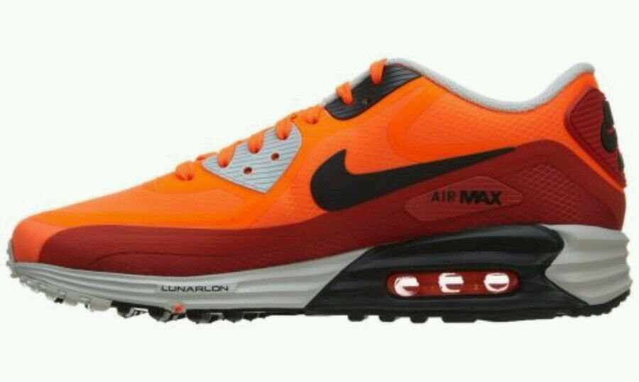 New Nike Air Max Lunar90 WR Man Water Resistant Running Shoes Man WR US 9.5 Crimson Red 22c643