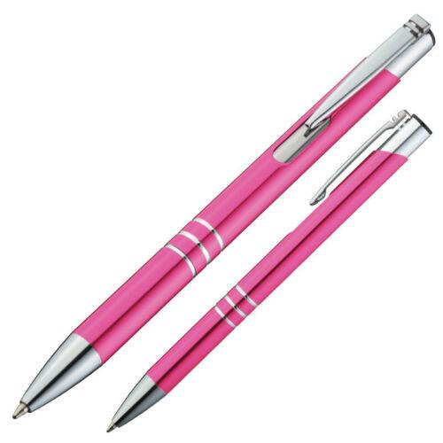100 Kugelschreiber aus Metall Farbe pink