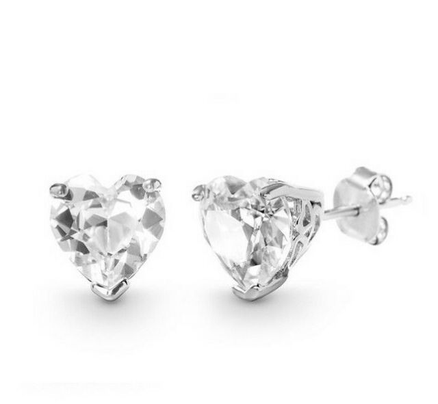 1 Ct Heart Stud Earring in 18K White Gold with Swarovski Crystal with Gift Box