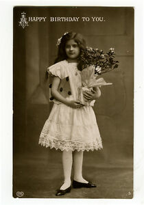 c-1910-Child-Children-YOUNG-GIRL-w-FLOWERS-photo-postcard