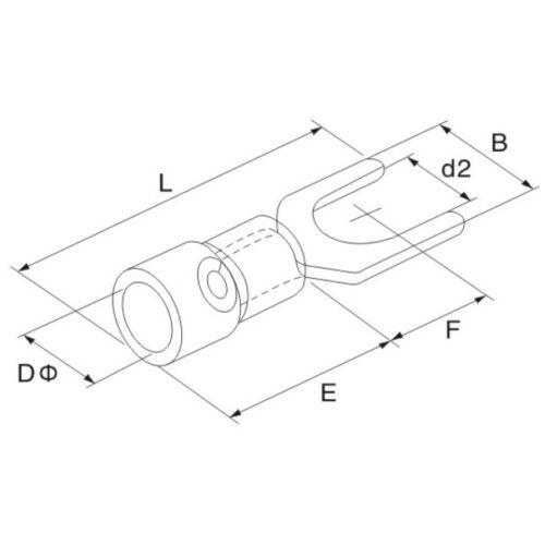25 cosses de câble à fourche Rouge 0,5-1,5mm² m3 teilisoliert DIN Câble Chaussure