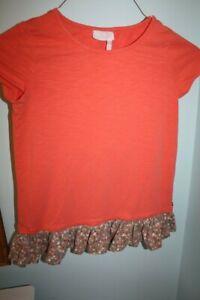 EUC Matilda Jane 435 Be Right Over Orange Ruffle Floral Tunic Top Girls Size 12