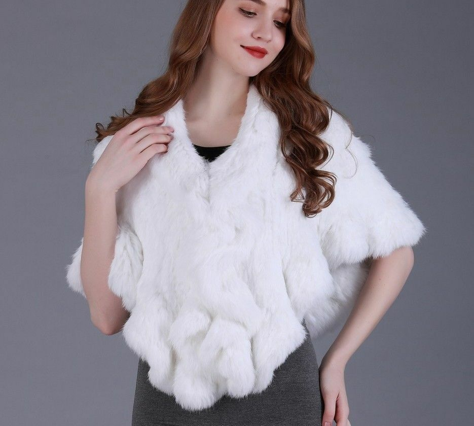 Real knitted rabbit fur cape ruffle hem Women Genuine fur shawl Wrap cloak stole