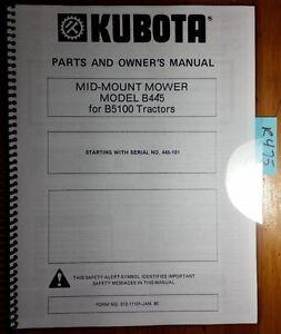 kubota b445 mid mount mower for b5100 tractor owner operator parts rh ebay com Kubota 5 Foot Finish Mower B3200 Kubota Mower Deck Installation