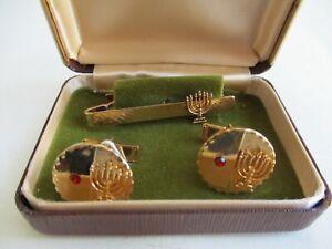Jewish Cufflink Tie Set With Menorah מנורה Gold Coloured jewish judaica israel
