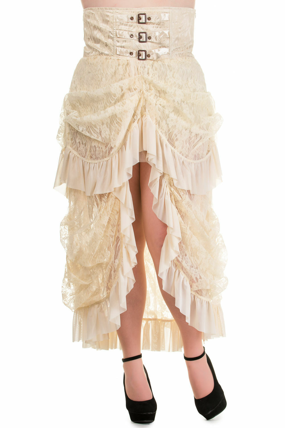 BANNED Cream Steampunk Long GOTH LACE SKIRT Vampire Victorian