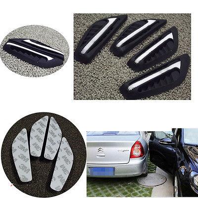 4 Pcs White Silicone Car Rearview Mirror Side Bumper Anti-Rub Door Edge Strips