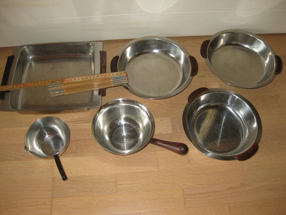 Rustfrit stål, fade og skåle, flere slags. bla.a.