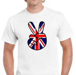Men/'s Unisex Union Jack Hand Proud United Kingdom Victory Brexit MOD Music P496