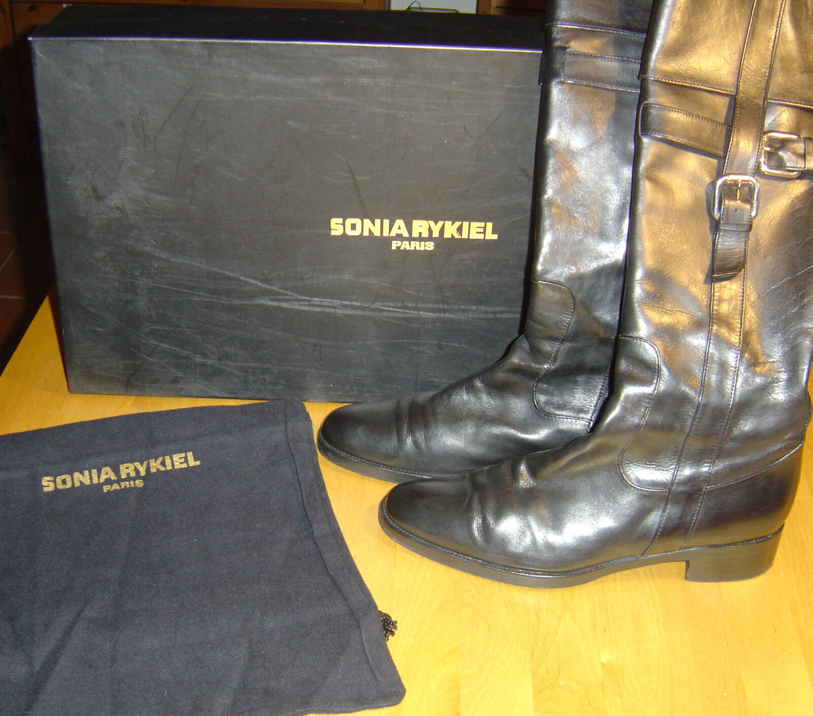 Original Sonia Rykiel Paris Stiefel Lederstiefel Reiterstiefel Schwarz EUR 39,5