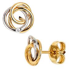 NEU Diamant Ohrstecker Knoten 585er Gold Ohrringe 585 Weißgold Gelbgold Bicolor