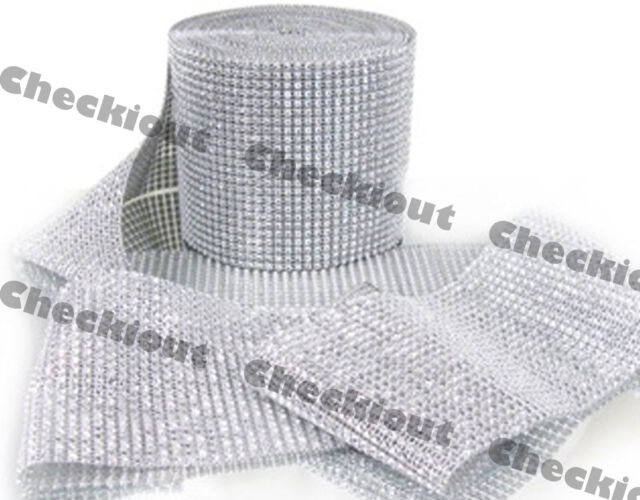 "4.5"" x 6ft Wedding Decoration Supplies Rhinestone Diamond Wraps Ribbon Mesh"
