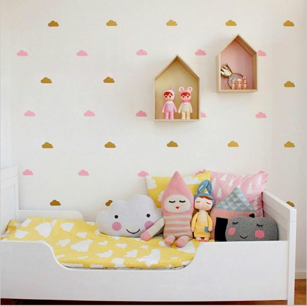 Cute Cloud Art Wall Sticker for Girl Bedroom Decor | Fun Decal Baby Nursery Room
