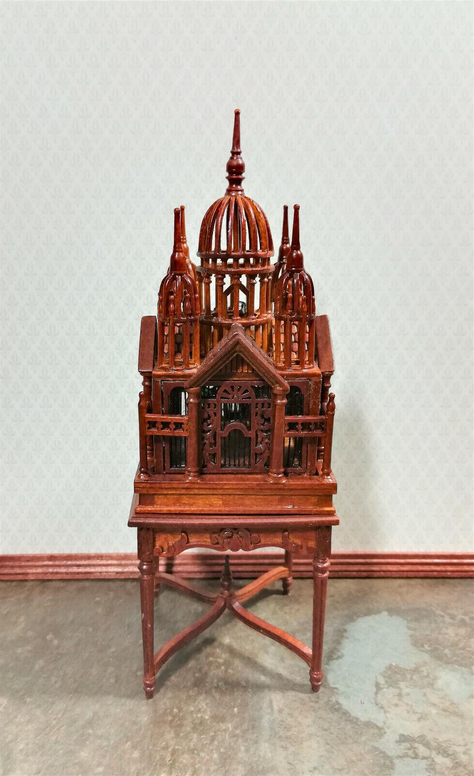 Jaula de casa de muñecas en miniatura con Mesa JBM Grande Extra elegante acabado en nogal 1 12
