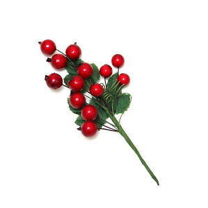 Christmas Leaves.2x Christmas Red Berry Holly Leaves Xmas Cranberry Picks