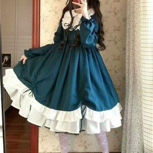 Women Lolita Dress Kawaii Goth Girls RuffleCute Cosplay Japanese Pleated Dresses