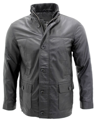 Classic Warm Black Leather Men's Military Jacket 100 Eq475
