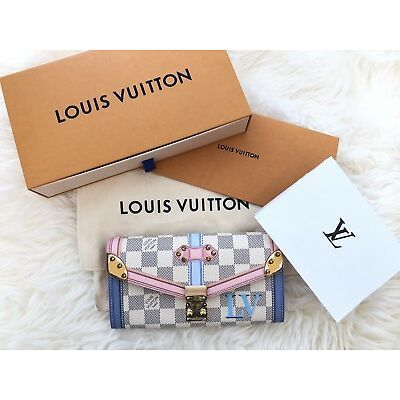 Rare SOLD OUT Auth Limited Edition Louis Vuitton SARAH Wallet AZUR TRUNK SUMMER