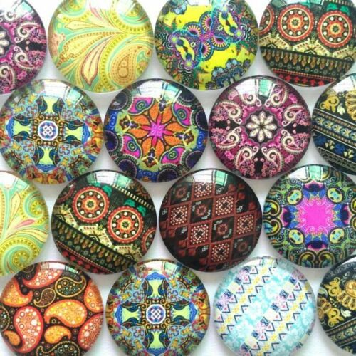 10pcs Mixed Patterns Round Photo Glass Cabochon 20 25mm Cameo Jewelry Settings