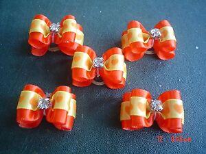 Pretty-Orange-Heart-Show-Style-Dog-Grooming-Bows-Diamante-Centre