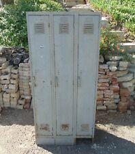 Locker Vintage Industrial Steel Metal Triple 3 Unit Gym School Storage Rustic