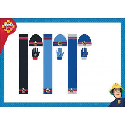 Gloves Winter Set Kids Xmas Gift Fireman Sam Boys Stretch Beanie Woolly Hat