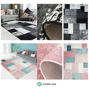 Tapis-moderne-design-salon-Inspiration-use-vintage-PASTELLE-Rose-Noir