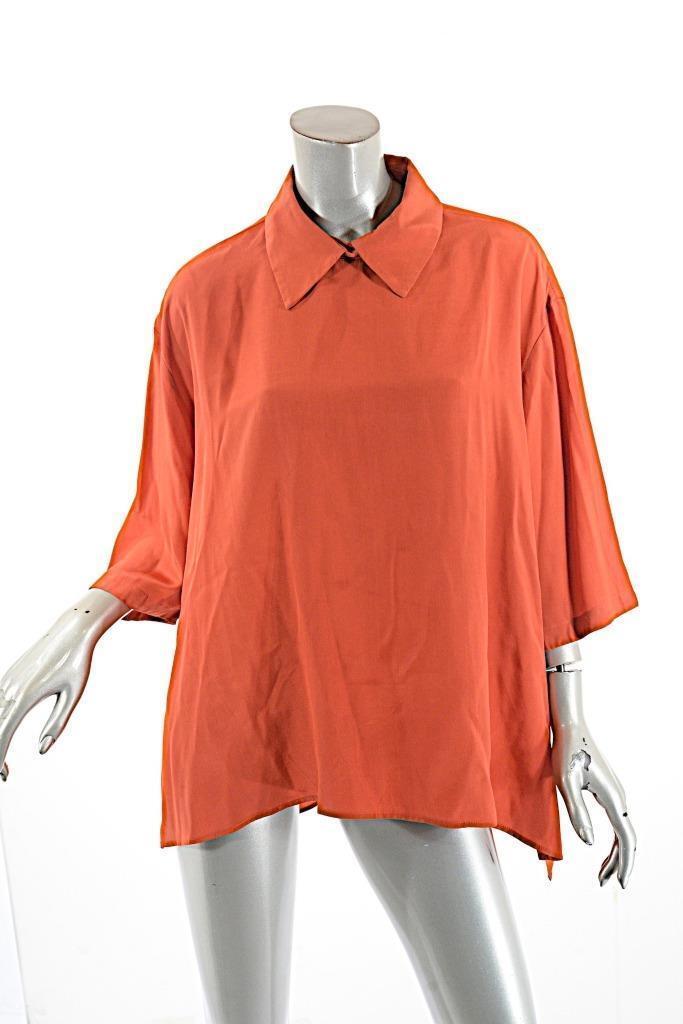 ROBERTA FREYMANN rot 100% Silk Relaxed Wing Collar Blouse with Hidden Zip  Sz M