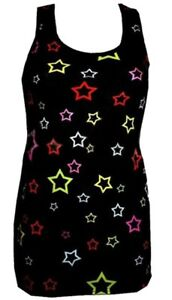 WOMEN-039-S-MULTI-STARS-CUTE-STAR-PRINT-LONG-VEST-TANK-TOP-DRESS-GOTH-PUNK-EMO