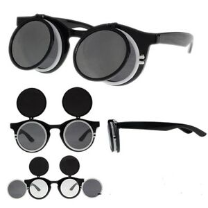 CYBER-Steampunk-duo-Goggles-Glasses-Retro-Flip-Up-out-Round-Sunglasses-gaga-lady