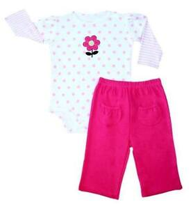 Carter-s-2-pc-Bodysuit-amp-Pants-Set-Baby-Girl-Clothes-Polkadot-w-Flower-3-mos