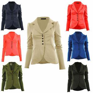 a12fde991 Details about New Womens 5 Five Button Front Ponte Bold Shoulder Ladies  Blazer Jacket Coat