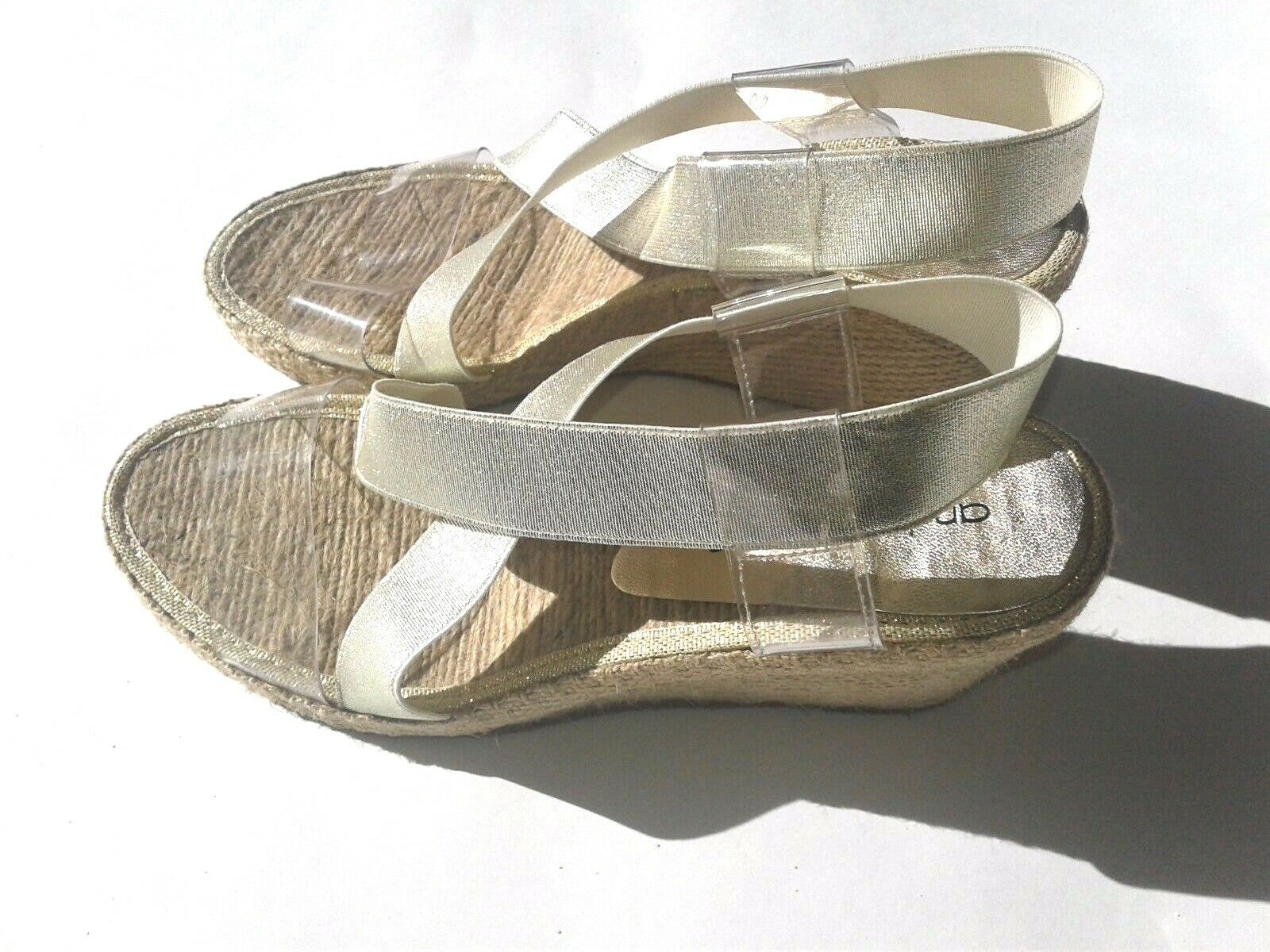 ANDRE ASSOUS Size 6.5 gold Clear Espadrilles Wedge Slip-On Sandals