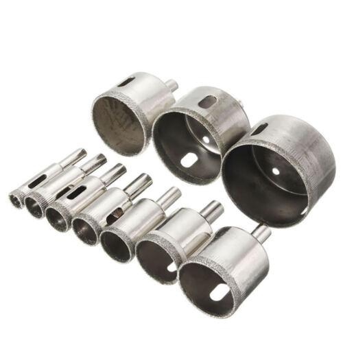 10Pcs 10-50mm Drill Bits Set Tool Hole Saw Cutter Glass Diamond Marble G SEQ