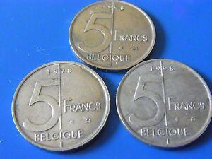 Belgien / Belgique Lot 3 x 5 Francs 1998 - Drage, Deutschland - Belgien / Belgique Lot 3 x 5 Francs 1998 - Drage, Deutschland