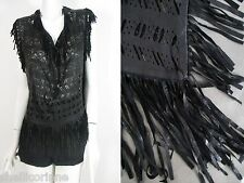 STUNNING WOMENS ALL SAINTS LEATHER EVRA TOP FRINGED LASER CUT FESTIVAL 8 10 £180