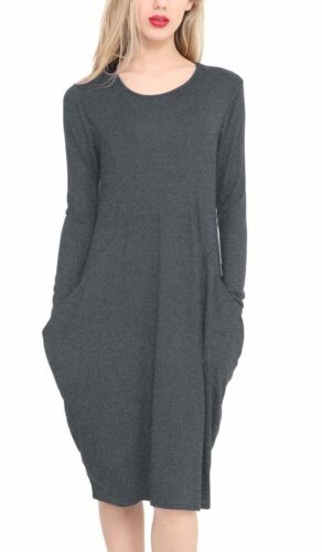 Womens Ladies Long Sleeve Legenlook Oversized Pocket Baggy Midi Dress UK 8-22