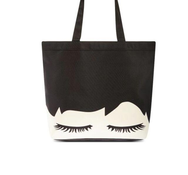Genuine New Lulu Guinness Eyelash Luisa Tote Large Bag Black Stone Rrp